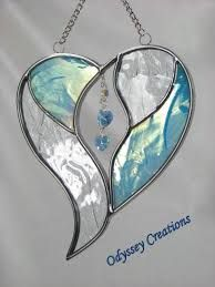 I like the idea of the hanging gems Two Hearts as One Stained Glass Suncatcher Stained Glass Ornaments, Stained Glass Suncatchers, Stained Glass Designs, Stained Glass Panels, Stained Glass Projects, Stained Glass Patterns, Leaded Glass, Stained Glass Art, Mosaic Glass