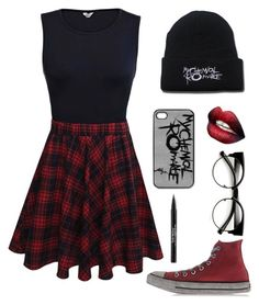 """My Chemical Romance (rtd)"" by bandumb ❤ liked on Polyvore featuring Converse, Trish McEvoy, mcr and mychemicalromance"