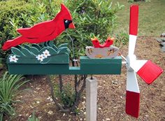 Cardinal with chicks Wood Projects, Woodworking Projects, Projects To Try, Whittling Projects, Kids Woodworking, Wind Sculptures, Garden Sculptures, Wind Spinners, Pinwheels