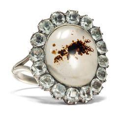 Georgian Paste - Ring aus Silber mit Landschaftsachat und Glaspasten, um 1800 von Hofer Antikschmuck aus Berlin // #hoferantikschmuck #antik #schmuck #antique #jewellery #jewelry // www.hofer-antikschmuck.de