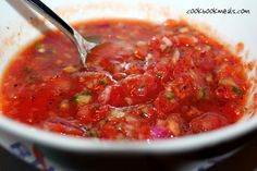 Gazpacho  Add Cilantro and parsley Gazpacho is a cold tomato-based vegetable soup.  I really think it's fabulous in summer.  It's refreshing and crisp.  There's no cooking involved either, so it's quick to make.  I used Ina Garten's recipe from foodnetwork.com.