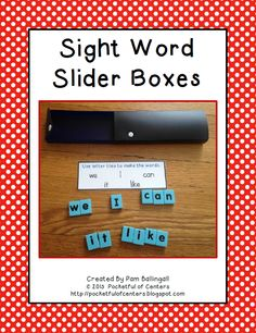 Sight Word Slider Boxes