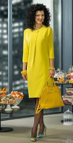 Fabulous yellow dress to brighten up even the dreariest of days. Trendy Dresses, Simple Dresses, Beautiful Dresses, Short Dresses, Jw Mode, Dress Outfits, Fashion Dresses, Modest Fashion, African Dress