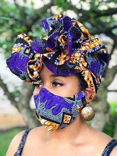HEADWRAP & FACE MASK set, African Print Face Mask, Ankara Mask, 100% Cotton Reusable Face Mask w/ Filter Pocket, Shaped Mask HWFM2016 Easy Face Masks, Face Mask Set, Turban, African Head Wraps, Fashion Face Mask, African Fashion, Fashion Accessories, Stylish, Money