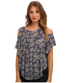 Free People Printed Cold Shoulder Top Navy Combo - Zappos.com Free Shipping BOTH Ways