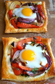 Red Pepper and Baked Egg Galettes from Yotam Ottolenghi's Jerusalem ~ these baked eggs in puff pastry are the ultimate breakfast in bed or brunch recipe. Easy Brunch Recipes, Healthy Brunch, Breakfast Recipes, Breakfast Ideas, Egg Recipes For Dinner, Brunch Foods, Breakfast Healthy, Breakfast And Brunch, Brunch Menu