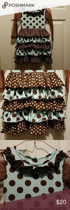 """Mud Pie brown aqua ruffle dress Sz. 2t EUC Mud Pie brown aqua ruffle dress Sz. 2t. YES was won once. Love the sleeves on this buttons down the back. Bust across is 9.5"""" length is 21""""  87% cotton 10% nylon 3% spandex Mud Pie Dresses"""