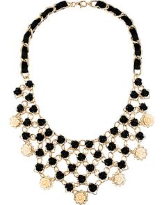 FABULOUS FLOWERS BIB NECKLACE BLACK accessories jewelry earrings fashion