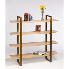 Directions East Breeze Bookcase with Wood Legs | AllModern   Maybe study