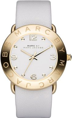 Marc by Marc Jacobs - Amy Gold White Leather Strap Watch Marc Jacobs Uhr, Marc Jacobs Watch, Marc Jacobs Dress, Jewelry Accessories, Fashion Accessories, Summer Accessories, Cool Watches, Women's Watches, White Leather