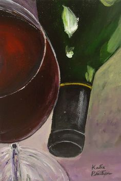 Red Wine Afternoon;  an original wine acrylic painting by Katie Phillips, $38.00. Perfect to display on a small table, shelf or desk