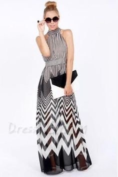 Vogue Color Block Wave Off-Shoulder Maxi Dress 10955632 - Little Party Dress - Dresswe.Com