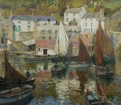 The Harbour, Polperro, Cornwall - John Anthony Park Seascape Paintings, Your Paintings, Landscape Art, Landscape Paintings, Landscapes, St Just, Sailboat Painting, Wow Art, Art Uk