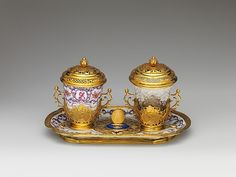 Ensemble for chocolate - Paquier period (1718–1744), te: 1735–40, Austrian, Vienna, Hard-paste porcelain, gold, glass, Dimensions: Tray (confirmed): 8 1/2 x 5 3/8 x 3/4 in. (21.6 x 13.7 x 1.9 cm) Porcelain beaker (confirmed): 2 11/16 x 2 5/8 x 2 5/8 in. (6.8 x 6.7 x 6.7 cm) Glass beaker with cover: 4 1/4in. (10.8cm) Assembled height tray, beaker, cover (confirmed): 4 7/8 in. (12.4 cm)