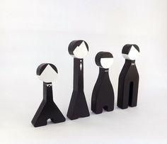 Citizen Dolls - Black and White Modern Sculpture Figurine Wooden.