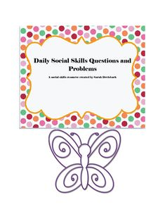 Challenge your students daily with a social skills question of the day. 30 days of questions included. There is space for students to respond with words and with pictures. After students how a few minutes to respond, facilitate a group conversation about their responses.