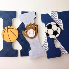 Hanging Wooden Letters Sports Theme Baseball Football Soccer Basketball Wood Letter Set For Nursery
