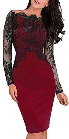 a6a5fe458 Amazon.com  Sunblume Women s Bodycon Lace Cocktail Party Evening Formal  Gown Dress  Clothing