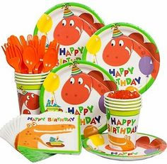 Dinosaur Birthday by Birthday in a Box From $10.59  A Dinosaur Birthday party is a wonderful idea for an upcoming birthday. With the assortment of party supplies available at Birthday Party Themes, decorating for this party is fun and easy. Grab a basic party pack for all the items needed for the occasion. The plates, cups, napkins and invitations as well as balloons and the centerpiece for the table are part of the pack. It even includes the candles for the cake and placemats.