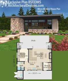Architectural Designs Micro Modern House Plan 85133MS gives you just over 600 square feet of living and a great room that opens wide to the back deck. Ready when you are. Where do YOU want to build? #housearchitecture #deckbuildingplans