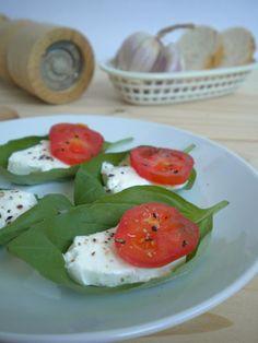 la cocina mágica de Manu: Hojas de albahaca rellenas (un aperitivo italiano, fuera de carta)