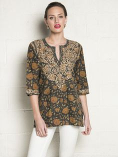 """Cotton Slit neckline 3/4 sleeves 29"""" length Beautiful hand embroidery"""