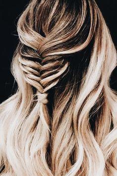 fishtail half pony balayage braid + long curls