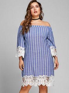 Striped Plus Size Off The Shoulder Dress - Blue