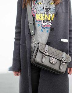 Frieze London 2013 street style  ELLE UK   ELLE UK   Hermes coat, Kenzo sweatshirt, Chanel bag, Zara trousers.