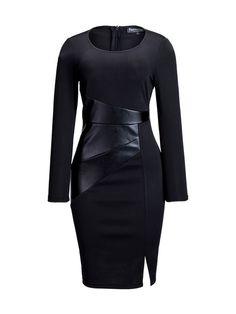 Round Neck Patchwork Split Plain Bodycon Dress
