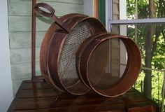 2 Vintage Primitive Wood Sieves Shows Signs of Ware Shaker Style | eBay