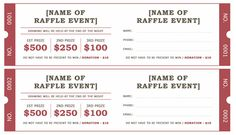 large raffle ticket template 2 4 up fundraiser pinterest