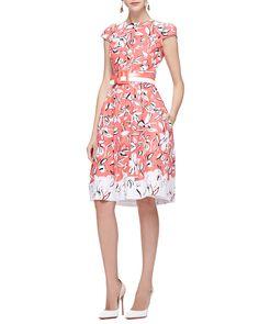 Oscar de la Renta Cap-Sleeve Flower Dress with Pockets, Granita