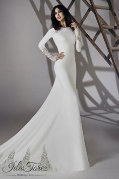 Modest Trumpet-Mermaid Bateau Natural Court Train Stretch Crepe Ivory Long Sleeve Open Back Wedding Dress 01064
