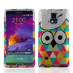 "myLife Green + Pink + Yellow Newspaper Triangle Owl {Retro, Colorful, Artistic} 2 Piece Snap-On Rubberized Protective Faceplate Case for the Samsung Galaxy Note 4 ""All Ports Accessible"" myLife Brand Products http://www.amazon.com/dp/B00U4DKZ9E/ref=cm_sw_r_pi_dp_fFyhvb12TANXD"