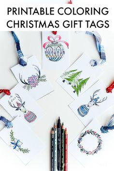 Printable Coloring Christmas Tags