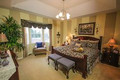 Lovely window and tray ceiling in this master bedroom. #masterbedrooms homechanneltv.com