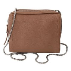 3.1 Phillip Lim Brown Soleil Mini Crossbody ($595) ❤ liked on Polyvore featuring bags, handbags, shoulder bags, brown, chain strap purse, brown crossbody, brown shoulder bag, mini crossbody and miniature purse