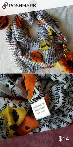 🎃Festive Infinity Scarf🎃 Great for the Holiday! Stay warm with this cute and cozy scarf! Lettering: Happy Halloween Pumpkin, Ghost & bats with moon in background*  Message me for further details Make me an offer!👻 Accessories Scarves & Wraps
