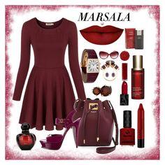 """Major Marsala Dresses"" by ane-twist ❤ liked on Polyvore featuring Ippolita, Cartier, Chicnova Fashion, Michael Kors, Yves Saint Laurent, Anastasia Beverly Hills, Obsessive Compulsive Cosmetics, Illamasqua, NYX and Clarins"