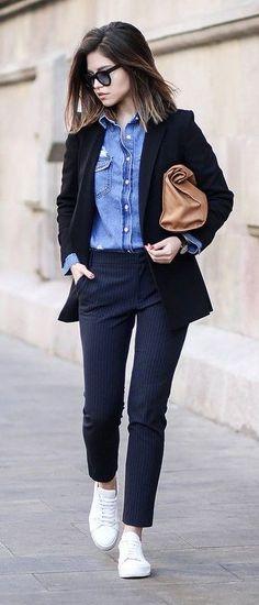 Black Blazer, Denim Shirt, Navy Trousers, Camel Bag, White Sneakers   Fake Leather