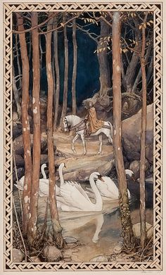 Alan Lee Mythical Scene Pen, watercolor, and gouache on board 17 X 10 in.