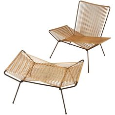 Iron and Cord Modernist Patio Lounge & Ottoman | From a unique collection of antique and modern lounge chairs at http://www.1stdibs.com/furniture/seating/lounge-chairs/
