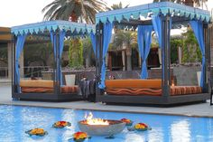 'Arabian Nights' Corporate Party at the M Resort Las Vegas » Raj Tents  Fire in the pool love this idea.