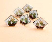 Diamond Terrarium Enamel Pin Badge Brooch
