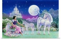 Robin Koni Poster Print Wall Art Print entitled Unicorn Princess - Feeding Foal | Jet.com