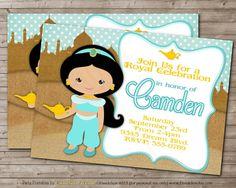 Printable Jasmine Birthday Invitations ~ Aladdin invitations a whole new world for party theme
