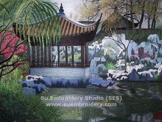 Suzhou Garden, all hand embroidered with silk threads on silk from Su Embroidery Studio, Suzhou China