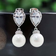 Wedding Jewelry Bridal Earrings Bridesmaid Earrings CZ ear posts with white shell based pearl dangle earrings Pearl Jewelry pearl earrings on Etsy, $27.90