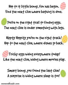 Easter Scavenger Hunt Clues {Printables}
